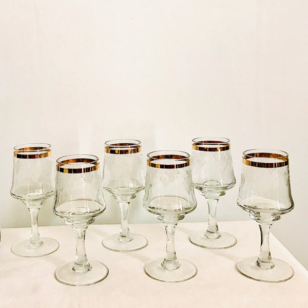 6 Vintage Wine Glasses with Etched Grape Design