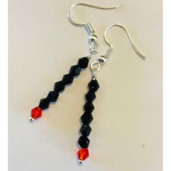 Black and Red Drop Earings