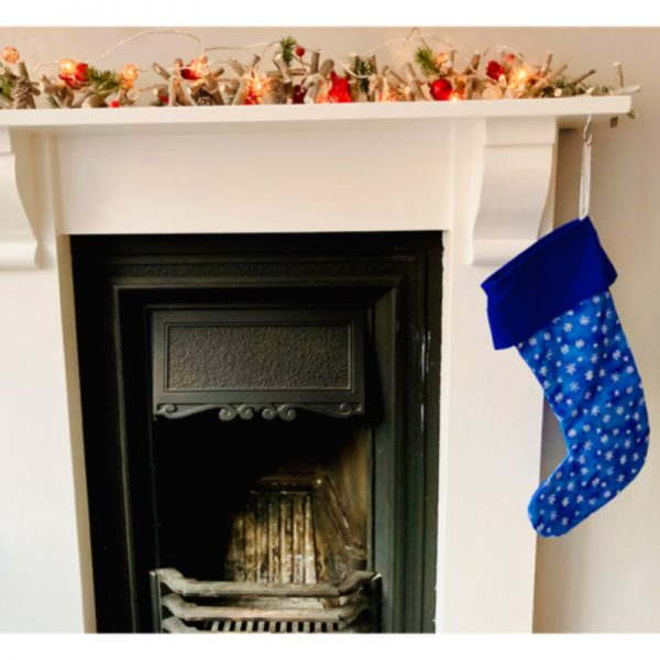 Blue and White Star Christmas Stocking