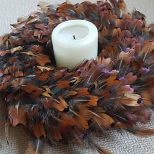 brown Feather wreath with candle