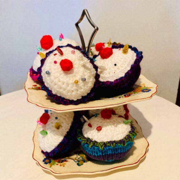 Novelty Hand Knitted Cupcake Pin Cushions