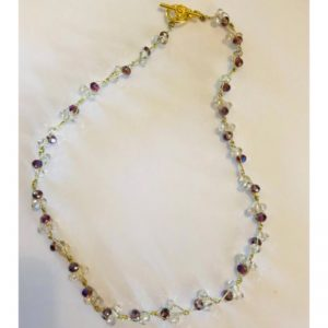 Purple and Crystal Bead Necklace