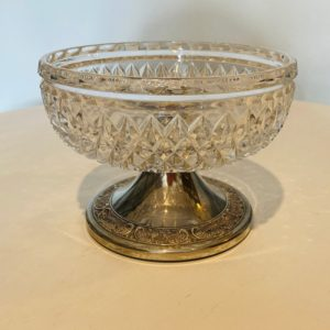 Vintage Glass Dish with Decorative Silver Base