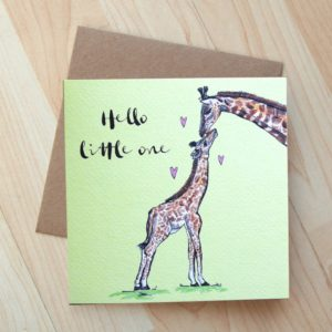 Giraffe Hello Little One Card