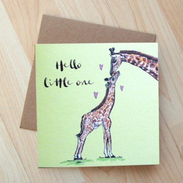 Giraffe Hello Little One Card