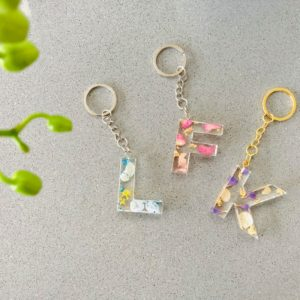 Floral Initial Keychain