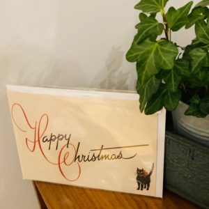 Black Cat Vintage Christmas Card