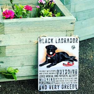 Black Labrador Hanging Metal Sign